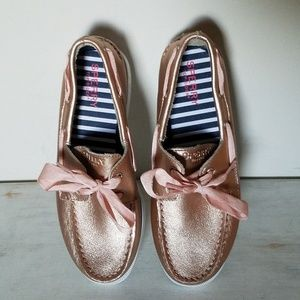 Sperry 4 rose gold leather boat shoes girls youth